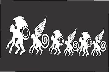 Amazoncom Flying Monkey Family Die Cut Vinyl Window Decal - Family window decals