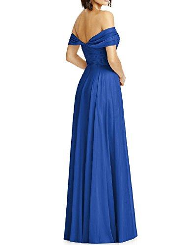 Chiffon Formal Evening Long Red Dress Off OYISHA Bridesmaid Womens BD131 Shoulder pwtqfRq