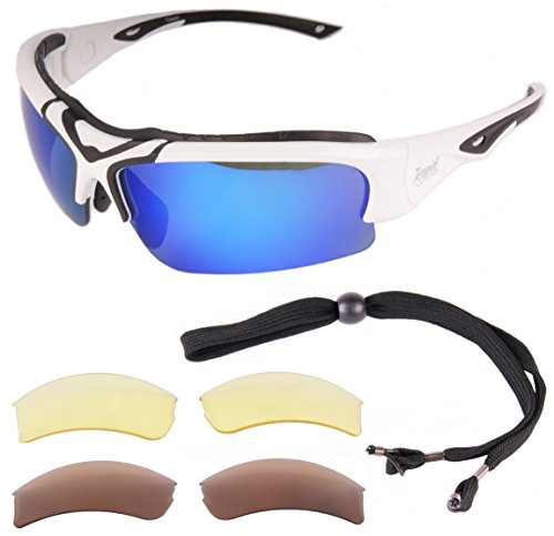 781728f18a6 Rapid Eyewear Toledo White Adjustable POLARIZED SPORTS SUNGLASSES with  Interchangeable Lenses for Men and Women. UV 400 Anti Glare Glasses for  Cricket
