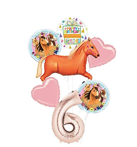 Mayflower Products Spirit Riding Free Party Supplies 6th Birthday Tan Horse Balloon Bouquet Decorations