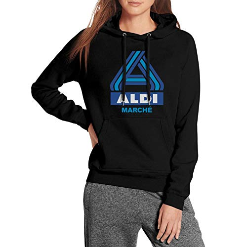 UONDLWHER Black Women's Long Sleeve Hooded Winter Sweatshirt Ultra Soft Plush Lining Pullover Urban Hoodie