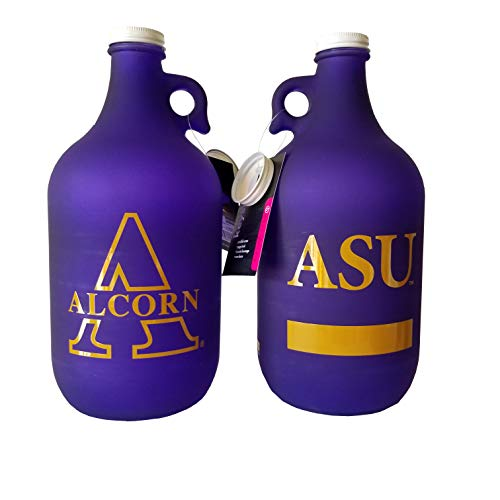 NCAA Collegiate 64 oz Glass Jug Growler Frost/Matte Finish with Optional Coin Bank Slotted Lid (Alcorn State Braves)