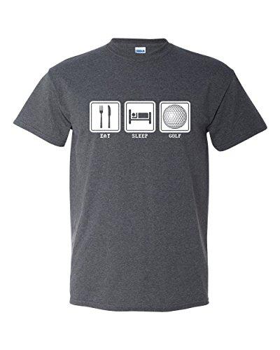 Thread Science Eat Sleep Golf Funny Sports Mens Unisex Adult T-Shirt Heather Black (Large)