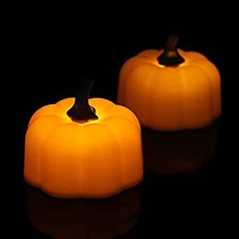 Halloween pumpkin tealight Battery Powered Candles Halloween Decorative Flicker Flameless Led Tea Light Candles for Indoor and Outdoor, Patio, Home Décor ,48pcs Orange by Youngerbaby