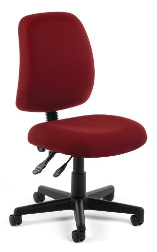 OFM Posture Series Armless Mid Back Task Chair – Stain Resistant Fabric Swivel Chair, Wine (118-2)