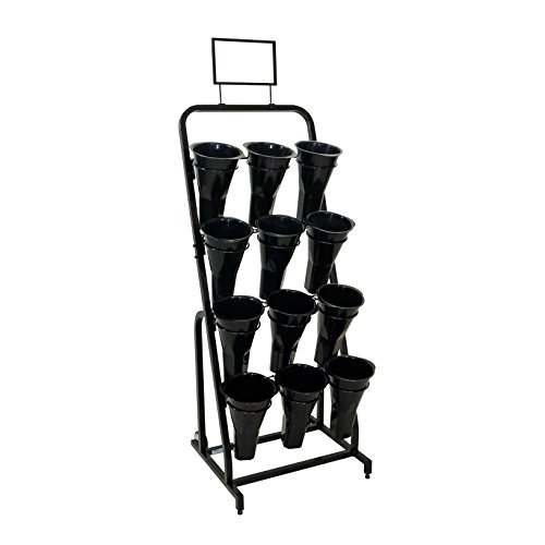 Mobile Merchandisers FC2452-B 12 Vase Floral Cart with Sign Frames and Vases
