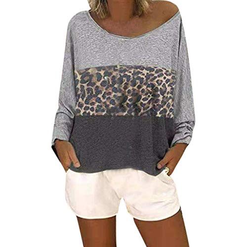 Women's Casual T-Shirt,Lace Patchwork 3/4 Sleeve O-Neck Top S-5XL, Semi-Sheer Fashion Style for Ladies (Leopard-Gray, M)