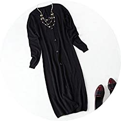 Women Long Section Cashmere Knit Cardigan Sweater Coat Wool Coat Loose Outside The Ride Black L