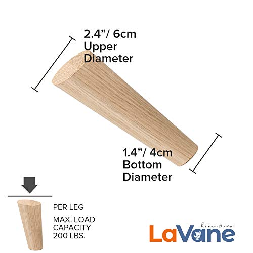 4.72 inch / 12cm Wooden Furniture Legs, La Vane Set of 4 Solid Wood Oblique Tapered Furniture Replacement Feet with Mounting Plate & Screws for Sofa TV Cabinet Bed Dining Table