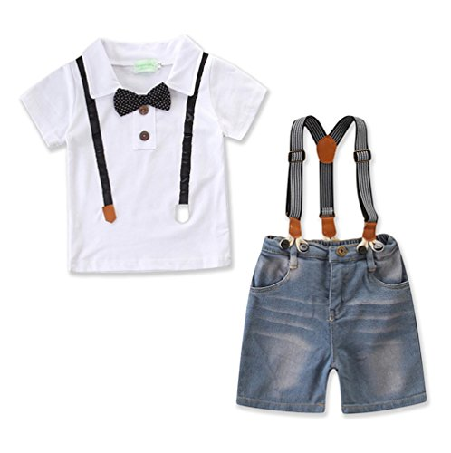Kids Little Boys Gentleman Suit Bowtie Polo Shirt Stripe Bib Denim Overall Short Set