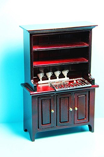 Dollhouse Miniature Kitchen Dining Room Hutch Accessories In Mahogany CLA My