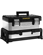 Stanley 1-95-830 Gereedschapskist (54,5 x 28 x 33,5 cm, met geïntegreerde lade, van metaal kunststof, gegalvaniseerde doos, duurzame koffer met roestvrije sluiting)