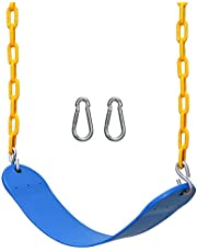 """JEKOSEN Swing Seat Duty Heavy 70"""" Plastic Coated Chain and Snap Hooks Playground Swings Set Accessories for Kids Adults Playroom/Backyard"""