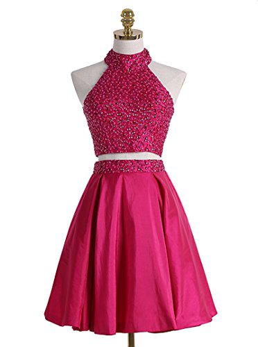 Homecoming Sequin Chupeng Cocktail Short Fuchsia Party Back 2017 Dress Piece Two Gown Open Beaded Prom wqxaCYxU