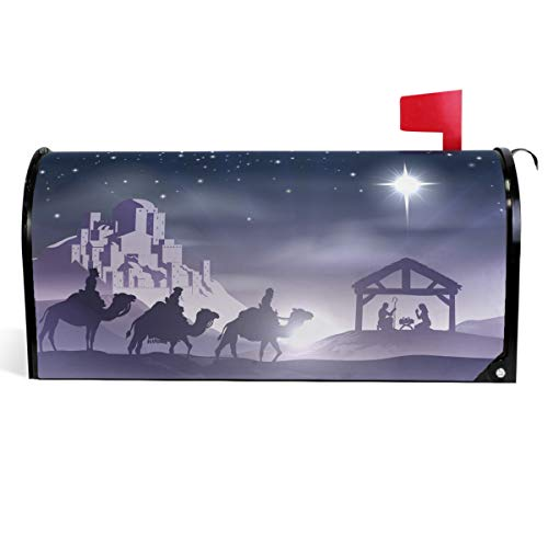 Wamika Traditional Christmas Mailbox Covers Magnetic Winter Xmas Scene Mailbox Cover Mailbox Wraps Post Letter Box Cover Garden Decor Standard Size 18