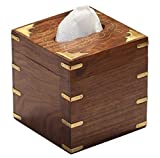SouvNear Wooden Handmade Tissue Holder Box - Square Wood Facial Tissue Box Cover in RoseWood Etched with Brass Work - Perfect Fit for Upright Kleenex Boutique Tissues