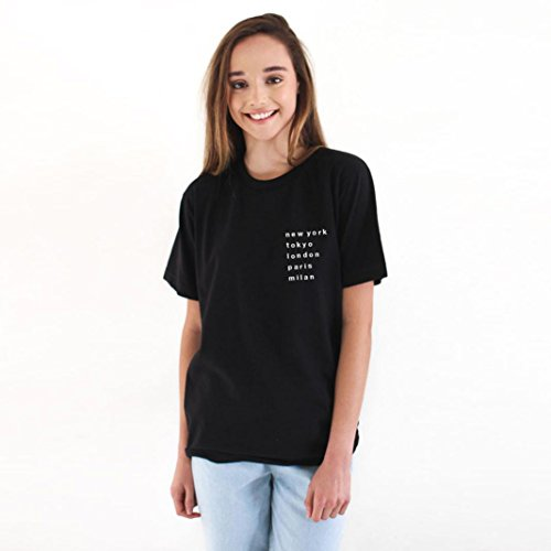 O-Neck Fashion Women City Name Printed Casual Loose Tops Short Sleeve Blouse T Shirt Prettymenny (S)