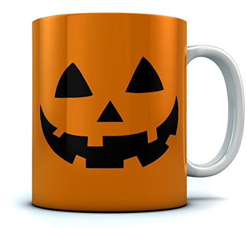 Tstars - JACK O' LANTERN Pumpkin Face Halloween Coffee Mug 15 Oz. White -