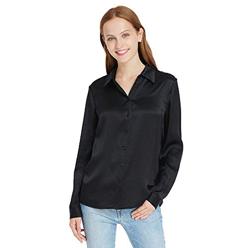 LilySilk Silk Long Sleeve Shirt Womens Black 90s 22 Momme Charmeuse Button Ladies Blouse XS