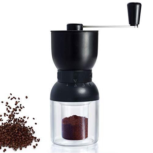 Manual Coffee Grinder with Ceramic Burrs, LHS Hand Coffee Mill with Two Containers Adjustable Coarseness Refillable Lids
