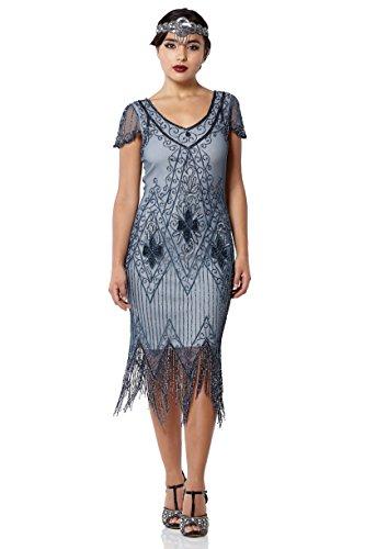 gatsbylady london Annette Vintage Inspired Fringe Flapper Dress in Blue Grey (US26) -