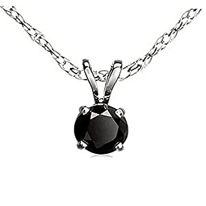 0.50 Carat (ctw) 18K White Gold Round Cut Black Diamond Ladies Solitaire Pendant 1/2 CT