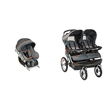 Baby Trend Flex Loc Infant Car Seat Vanguard With Navigator Double Jogging Stroller