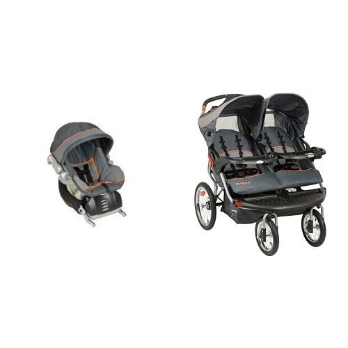 Baby Trend Flex Loc Infant Car Seat, Vanguard with Navigator Double Jogging Stroller, Vanguard