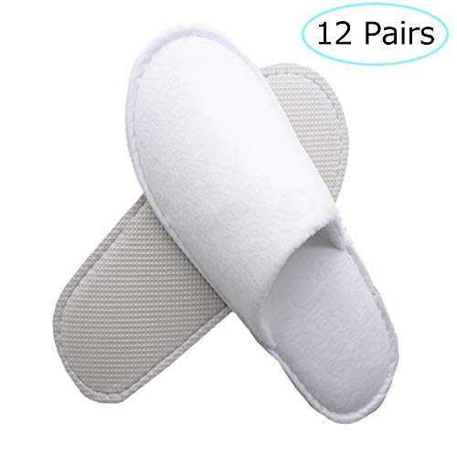 12 Pairs Disposable Slippers, Closed Toe Adult Spa Slippers Hotel Slippers, Non-Slip by Queenmore