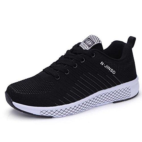 Zapatos de cuña cómodos para Mujeres Zapatos de Plataforma para Caminar Zapatillas de Deporte Respirables Tenis de Aire Negro, Rosa, Naranja Color Tres Opcional (Color : Negro, tamaño : 38) Negro