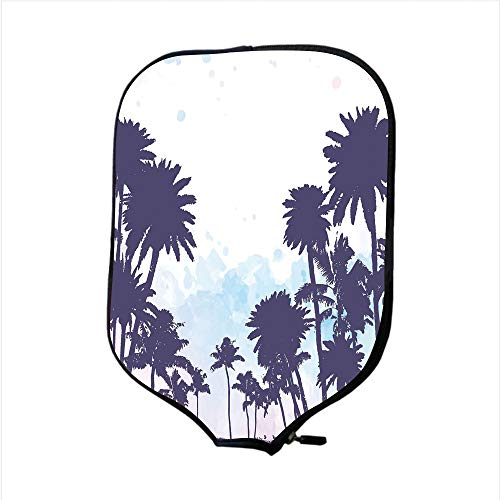 Paddle Racket Cover Case,Apartment Decor,Miami South American Plant Forest Tropic Natural Palm Trees Art Print,Blue and White,Fit for Most Rackets - Protect Your Paddle ()