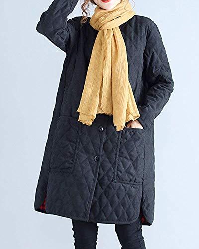 Solidi Giacca Outerwear Parka Trapuntata Schwarz Breasted Con Vintage Primaverile Single Colori Manica Elegante Giubotto Giovane Trench Lunga Casual Autunno Tasche Donna Moda WrRrFxXg