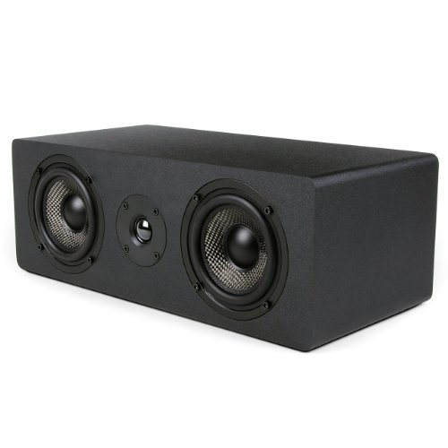 Micca MB42X-C Center Channel Speaker With Dual 4-Inch Carbon Fiber Woofer and Silk Dome Tweeter (Black, Each) -