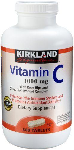 Kirkland Vitamin C with Rose Hips and Citrus Bioflavonoid Complex (1000 mg), 500-Count Tablets