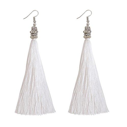 Boderier Diamond Cap Silk Tassel Drop Earrings Women Statement Shoulder Duster Earrings Ear Hook (White)