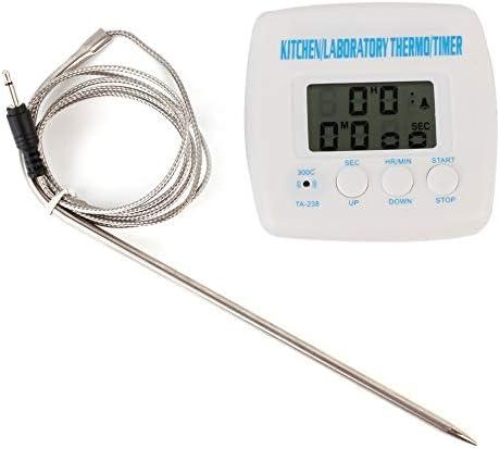 Lxkko 温度計 料理 2 in 1キッチンフード肉バーベキュープローブ温度計タイマー目覚まし時計機能液晶ディスプレイ温度計