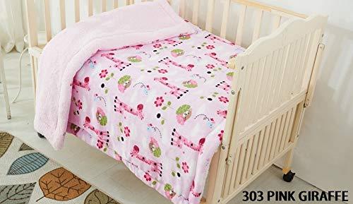 Elegant Home Kids Soft & Warm Pink Giraffe Design Sherpa Baby Toddler Girl Blanket Printed Borrego Stroller or Baby Crib or Toddler Bed Blanket Plush Throw 40X50 (Pink ()
