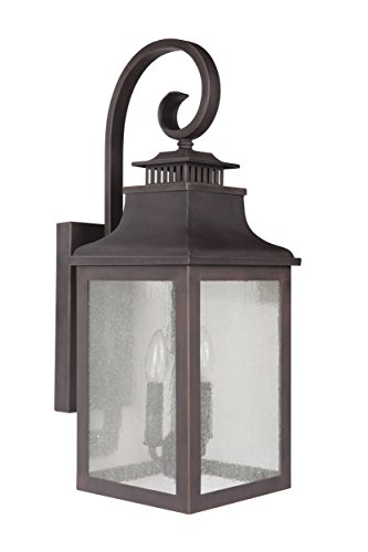 Y Decor EL2283RT Modern, Transitional, Traditional 2 Light Rustic Bronze Exterior Outdoor Light Fixture with Clear Seedy Glass Small By Y Décor, , ()
