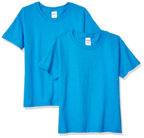 Gildan Kids' Big Heavy Cotton Youth T-Shirt, 2-Pack, Sapphire, Large