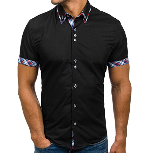 YOcheerful Men's Polo Shirt Tee Top Blouse T-Shirt Business Workwear bar Party (Black,2XL)