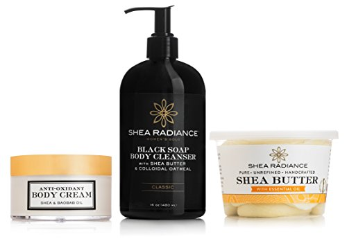 Shea Radiance - Rich Nourishing Moisture Skin Bundle - Antioxidant Body Cream 6 oz, Classic Black Soap Body Cleanser 16 oz, Large Shea Butter Luxe Tub with Essential Oil