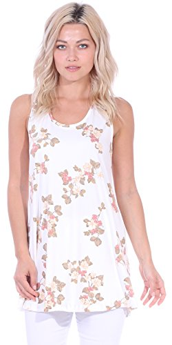 Popana Women's Casual Sleeveless Summer Floral Tunic Tank Tops S-3X Made in USA
