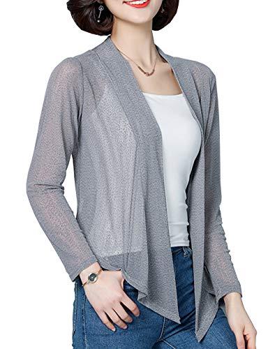 Womens Shrug for Dresses Bridesmaid Chiffon Petite Loose Lace Bolero Top(Gray,XL)