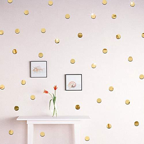 (Agordo 100 x Sticker Mirror 2cm 3D Wall Decal Mosaic Living Room Home Decor roundshape)