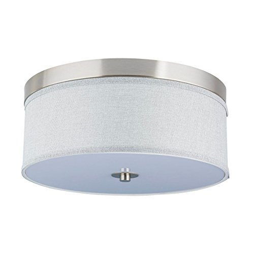 Cheap Occhio 15″ Flush Mount Ceiling Light – Brushed Nickel w/ a Gray Fabric Shade – Linea di Liara LL-C252-HG