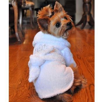White Silver Tiara Cotton Dog Bathrobe (Medium) -