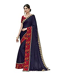 CRAZYBACHAT Latest Indian Designer Navy Blue Soft Silk Saree with Free Stretchable Blouse