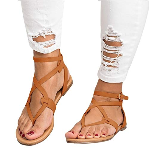 (Womens Flat Strappy Gladiators Sandals Thong Criss Cross Wrap Ankle Strap Open Toe Beach Sandals Brown)