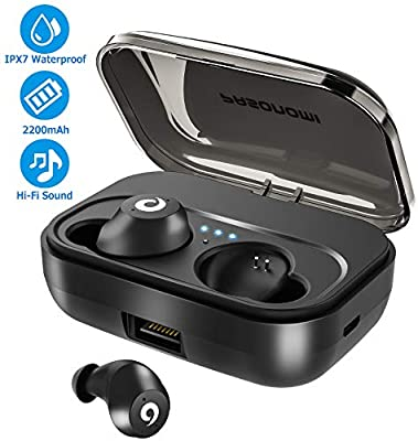 [2019 Version] Bluetooth Earbuds Wireless Headphones Bluetooth Headset Wireless Earphones IPX7 Waterproof Bluetooth 5.0 Stereo Hi-Fi Sound with 2200mA