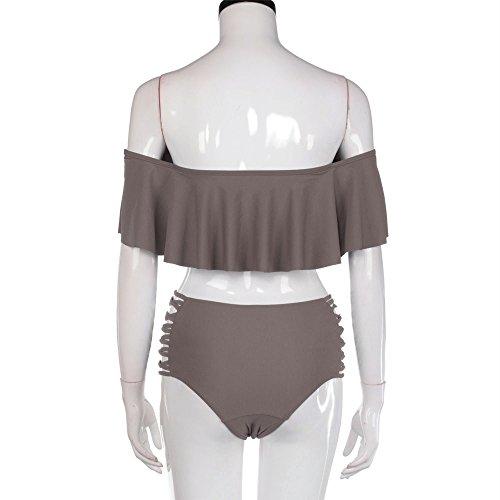 SKY Hot Selling !!! La Sra volante dividida traje de baño Swimwear Set Swimsuit Push Up Bikini Bathing Suit café